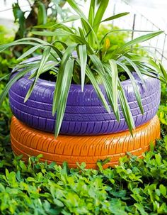 Jardinières en pneus recyclés