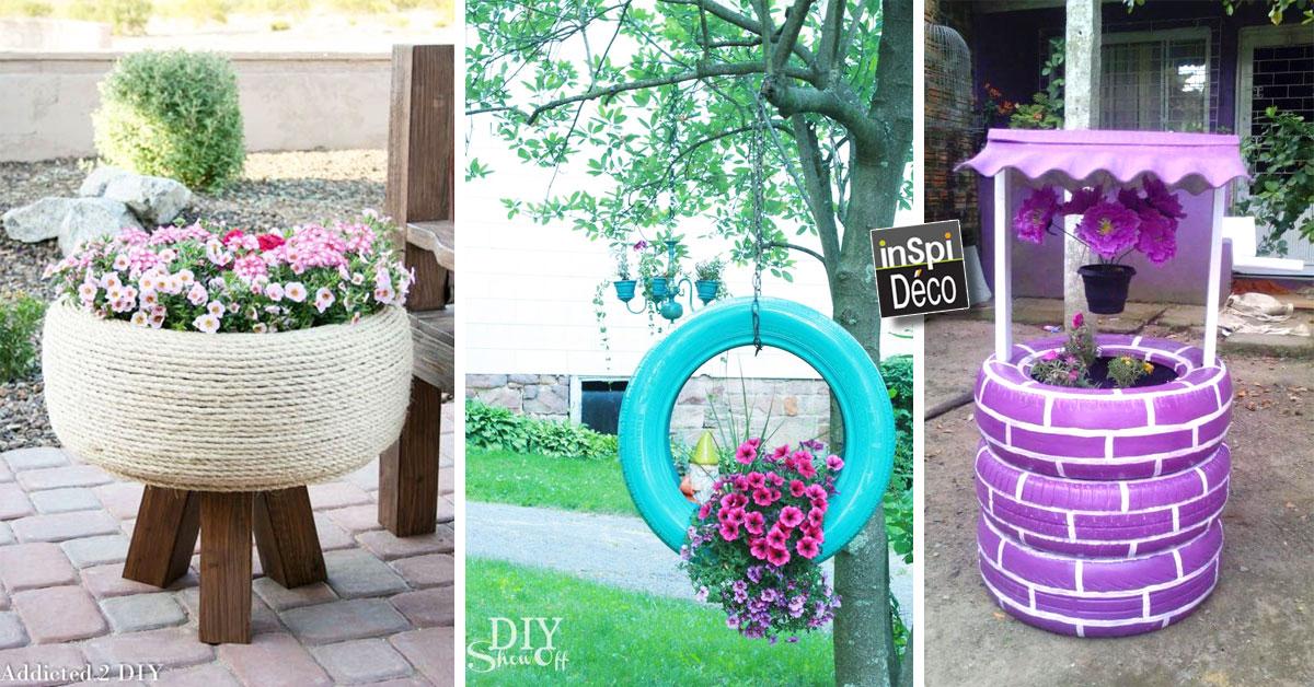 Super Jardinières en pneus recyclés! Voici 20 idées créatives UE26