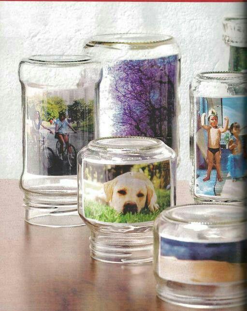 portafoto creativi barattoli di vetro 2
