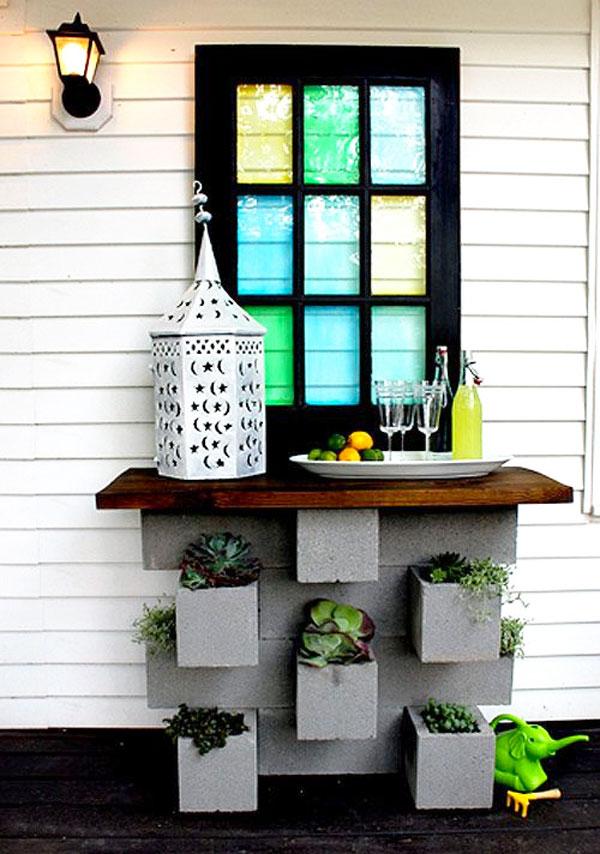 decorare con blocchi di cemento