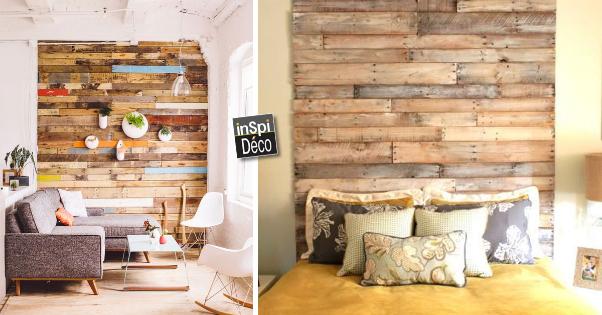 couvrir un mur en bois de palettes regardez le r sultat. Black Bedroom Furniture Sets. Home Design Ideas