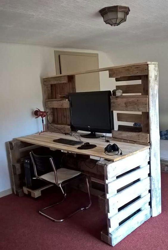 fabriquer un bureau avec des palettes. Black Bedroom Furniture Sets. Home Design Ideas
