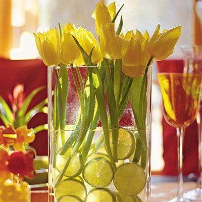 Décorer un vase avec oranges et citrons