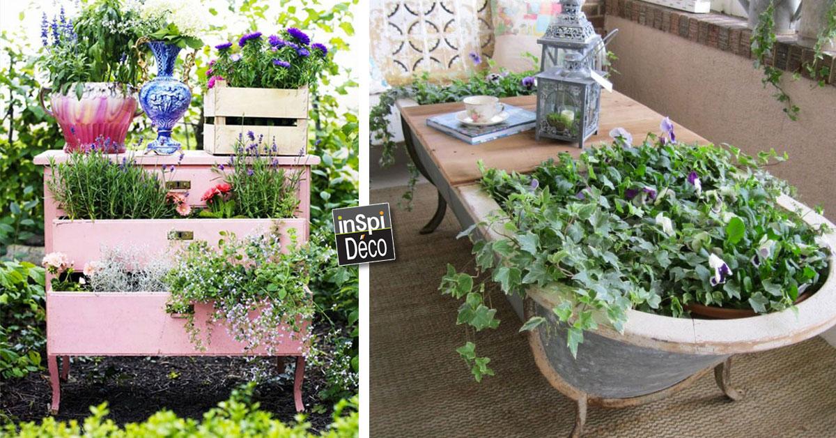 r utiliser les vieux meubles pour d corer votre jardin. Black Bedroom Furniture Sets. Home Design Ideas