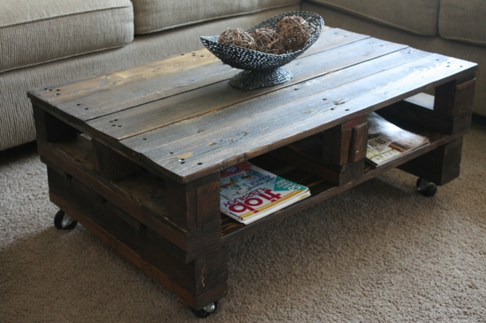 Transformer une palette en une superbe table basse 53 id es - Fabriquer une table basse avec des palettes ...