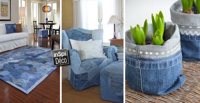 r cup rer les vieux jeans pour d corer la maison 20 id es. Black Bedroom Furniture Sets. Home Design Ideas