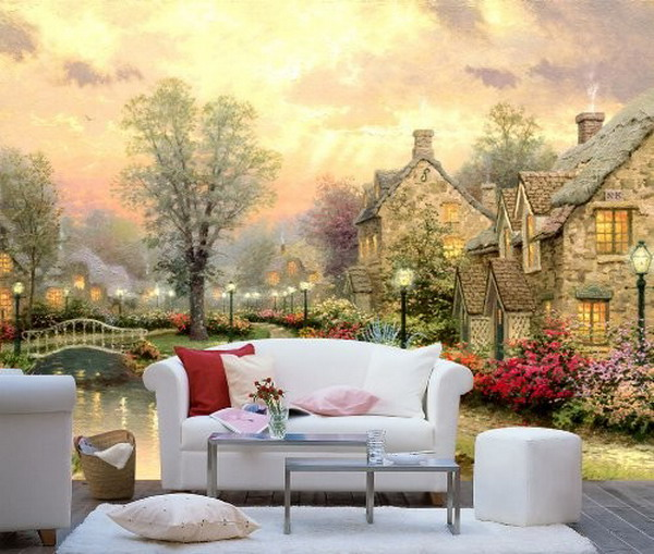Beautiful-Fairyland-Wall-Murals-in-Modern-Living-Room-Interior