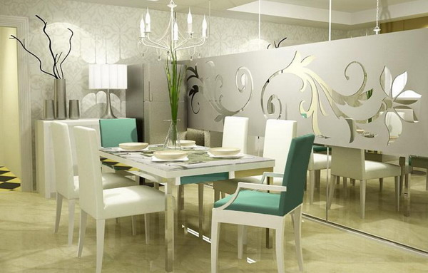 Beautiful-Luxury-White-Dining-Room-Murals-Art-Decoration