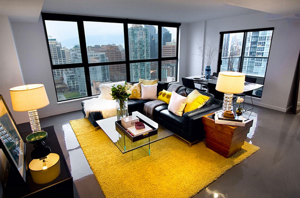 D co jaune et gris dans le salon 25 id es cr atives - Deco salon gris et jaune ...