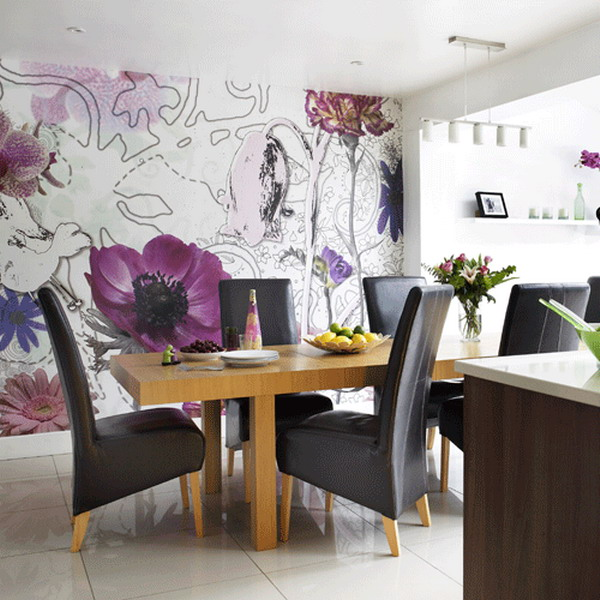 Contemporary-Dining-Room-Interior-with-Flower-Wallpaper-Murals