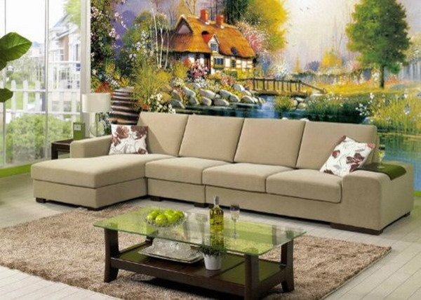 Contemporary-Living-Room-Fairyland-Wall-Murals-Design