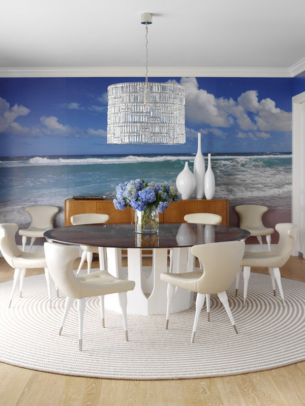 Dinning-Room-with-Beach-Wall-Mural-Ideas