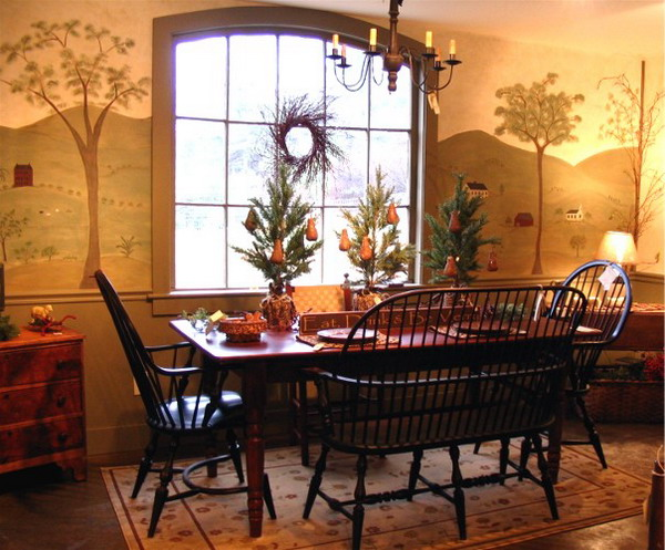 Great-Wall-Murals-Ideas-for-Country-Style-Dining-Room