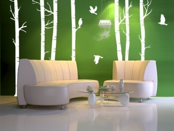 Minimalist-Green-Wall-on-Living-Room-Vinyl-Art