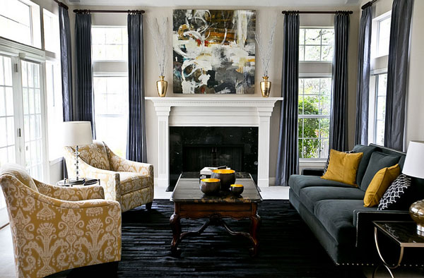 Stunning-living-space-with-platinum-silk-draperies-in-charcoal-grey-and-golden-yellow-decor