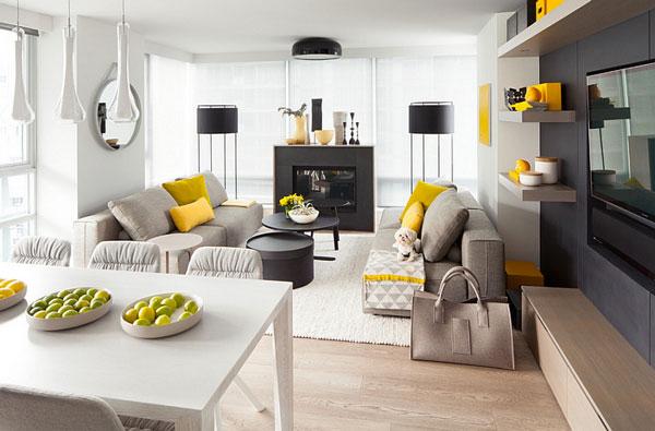 Déco jaune et gris dans le salon