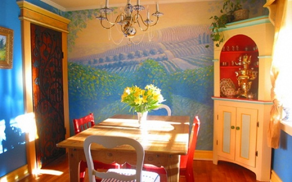 Traditional-Bohemian-Dining-Room-Landscape-Wall-Murals