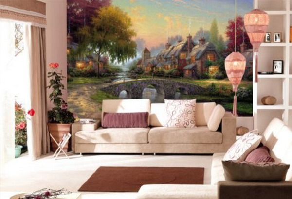 Wonderful-Living-Room-Fairyland-Landscape-Wall-Murals-Ideas