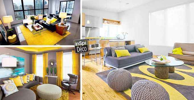 D co jaune et gris dans le salon 25 id es cr atives for Idee deco salon sejour