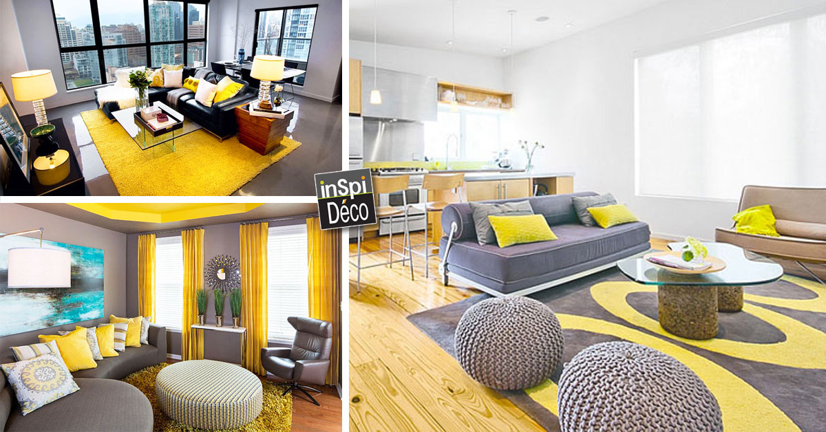 D co jaune et gris dans le salon 25 id es cr atives for Salon gris deco