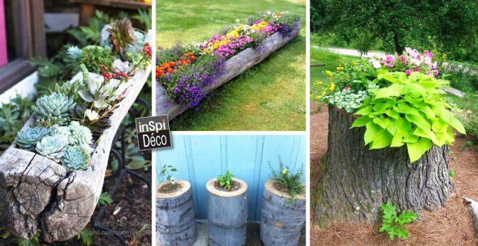 D corer un tronc avec des fleurs voici 15 id es cr atives for Decorer un jardin