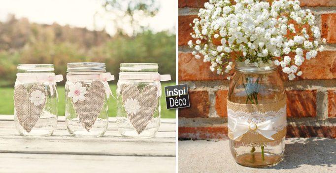 D corer des bocaux recycl s avec de la toile de jute 20 id es - Comment decorer un verre ...