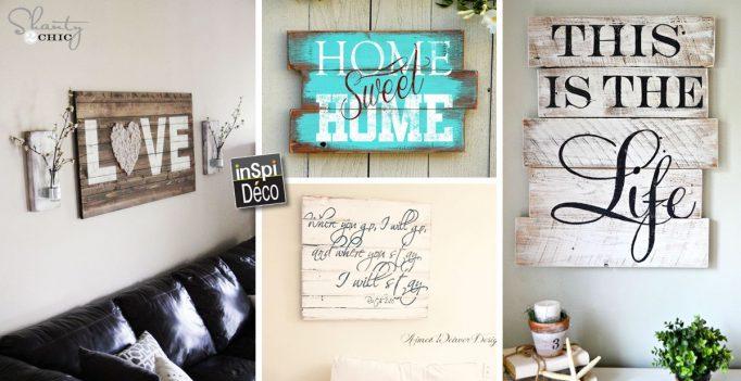 une enseigne d corative en bois de palettes 19 id es. Black Bedroom Furniture Sets. Home Design Ideas