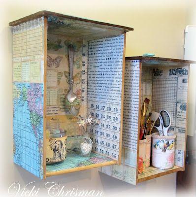 riciclo creativo cassetti comodini 18