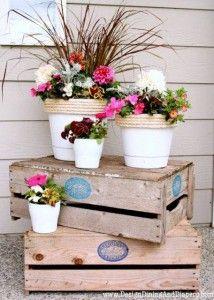 Decorare il giardino con le cassette di legno