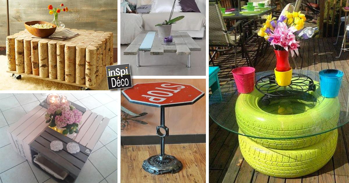 Une table basse avec des mat riaux de r cup 20 id es - Table salle a manger recup ...