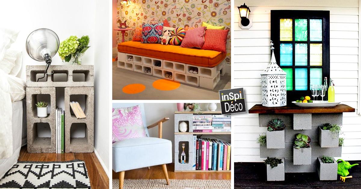 d corer son int rieur avec des parpaings voici 20 id es. Black Bedroom Furniture Sets. Home Design Ideas