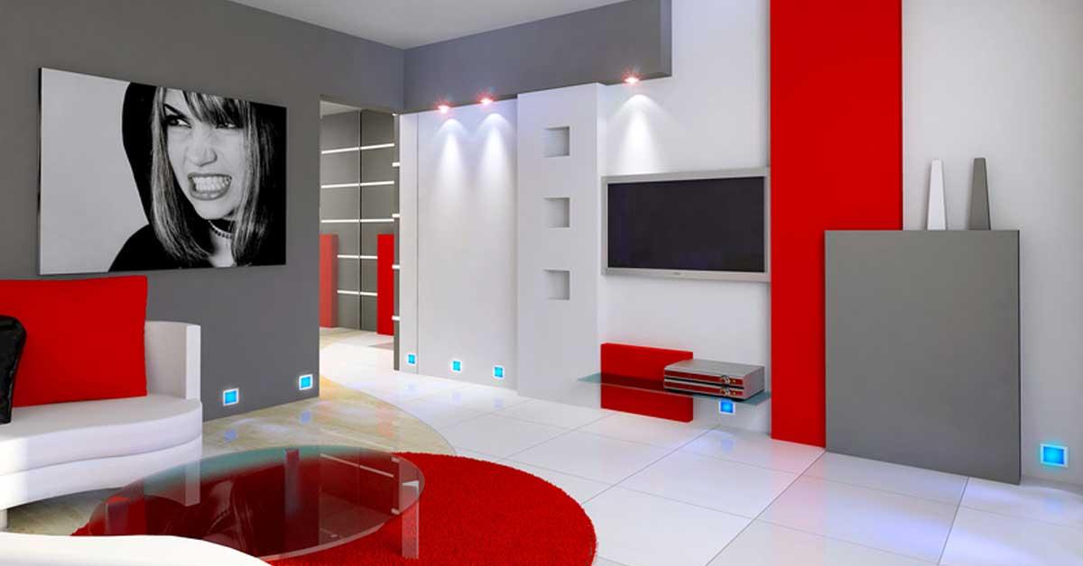 Combiner blanc et rouge dans le salon 20 id es for Que color asociar con el gris claro