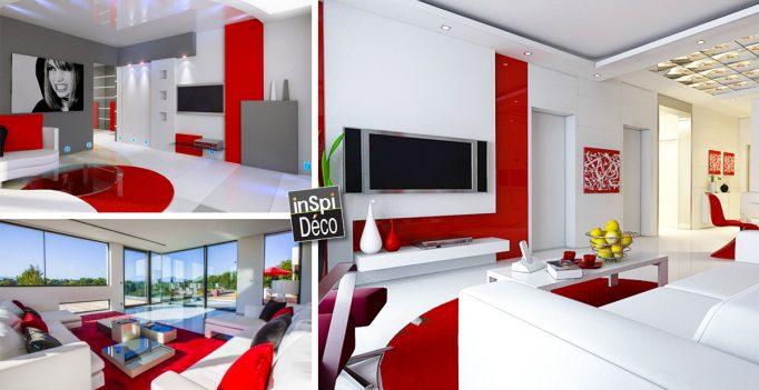 Combiner blanc et rouge dans le salon 20 id es - Salon rouge et blanc ...