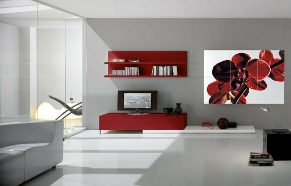 Combiner blanc et rouge dans le salon 20 id es - Salon blanc et rouge ...