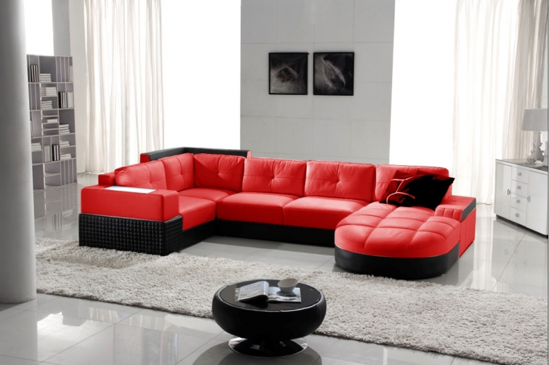 combiner blanc et rouge dans le salon 20 id es. Black Bedroom Furniture Sets. Home Design Ideas