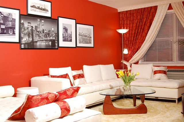 kombinieren sie weiß und rot im wohnzimmer! 20 ideen... - Wohnzimmer Orange Weis