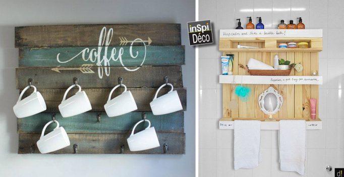 des cr ations en bois de palettes pour ranger la maison 20 id es. Black Bedroom Furniture Sets. Home Design Ideas