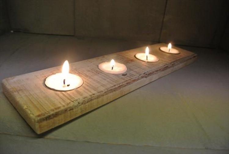 déco avec bougies et palettes