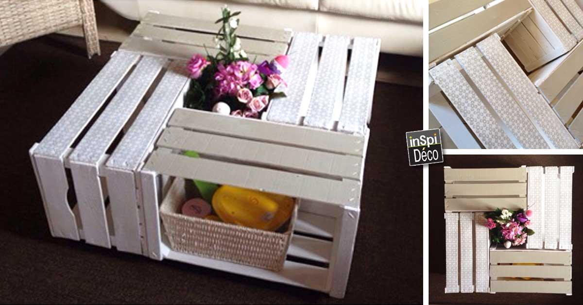 tables basses r alis es avec des cagettes en bois 20 id es. Black Bedroom Furniture Sets. Home Design Ideas