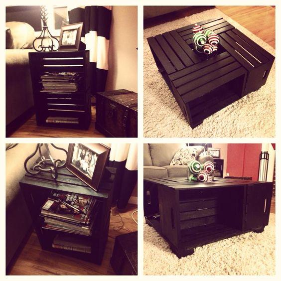 tavolini realizzati con cassette di legno