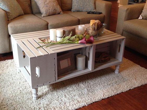 Tables basses réalisées avec des cagettes en bois! 20 idées...