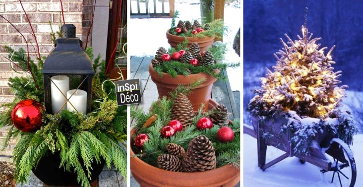 Pots de terre cuite en d co noel 20 id es tutoriel for Idee decoration fenetre pour noel