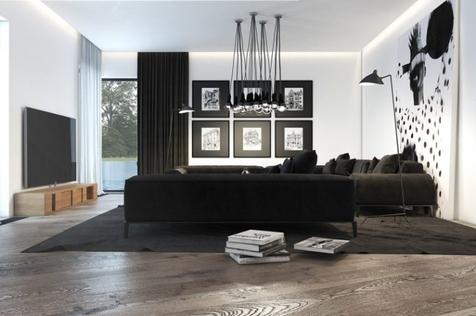 marier noir et blanc dans le salon voici 20 id es pour. Black Bedroom Furniture Sets. Home Design Ideas
