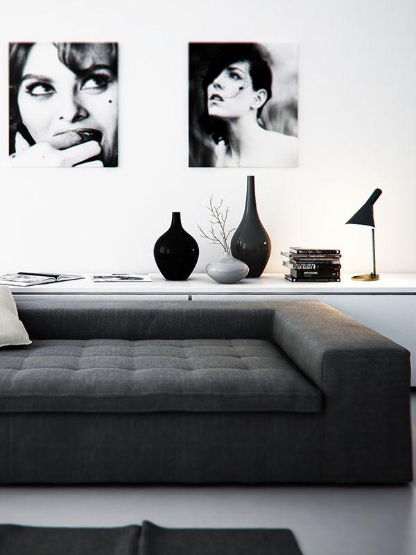 Marier noir et blanc dans le salon