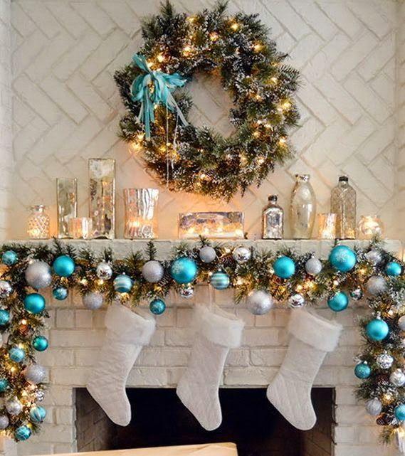 Decoration de noel sur cheminee