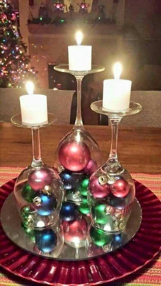 portacandele natalizi con bicchieri di vetro fai da te