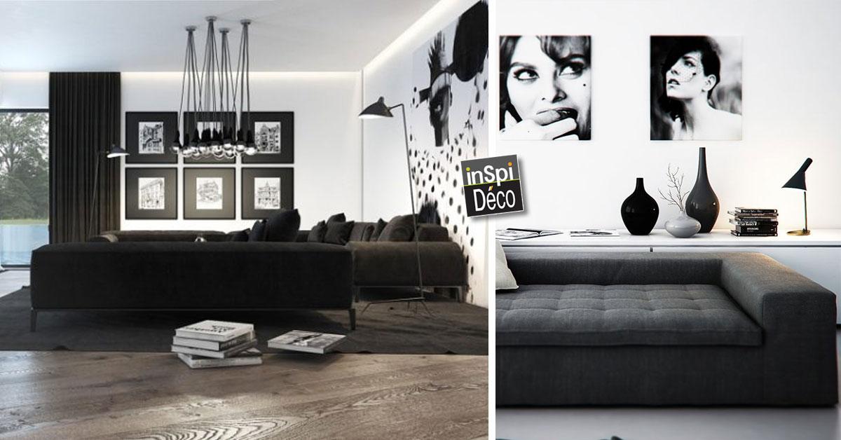 Marier noir et blanc dans le salon voici 20 id es pour - Le salon noir ...