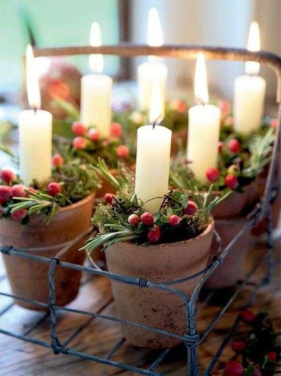 Pots de terre cuite en déco Noel