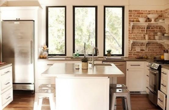 cucine parete mattoni 32