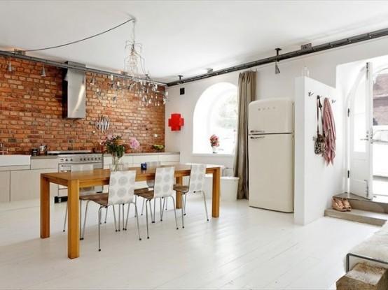 cucine parete mattoni 33